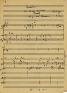 תווים בכתב יד, קונצ'רטינו לקאנון, קרן אנגלית, קלרינט, כלי קשת וכלי הקשה