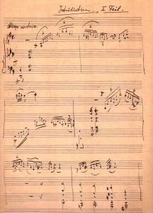 סוויטה לכנור ותזמורת, בכתב  ידו של לברי