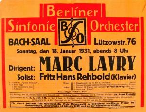 כרזה משנת 1931 להופעת הבכורה של הקונצ'רטו לפסנתר ותזמורת אופוס 10