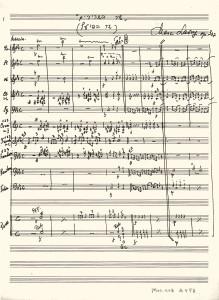 כתב היד המקורי של מרק לברי של שיר השרירים לתזמורת כלי נשיפה